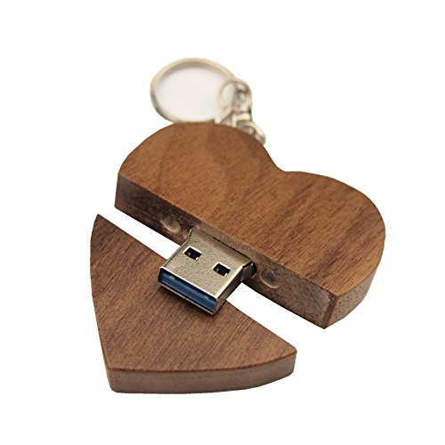 FeliSun Customized Holz Herz USB3.0 Flash Drive Pendrive 64 GB 32 GB 16 GB High Speed U Festplatte Memory Stick Externe Speicher Fotografie Hochzeitsgeschenke (Herz Usb-flash-laufwerk)