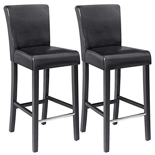 SONGMICS Barhocker, 2er Set, Barstühle, gut gepolstert, PU-Bezug, Fußstütze mit Metallummantelung, bis 110 kg belastbar, Küchenstühle, Sitzhöhe 71,5 cm, Beine aus Massivholz, schwarz LDC31B