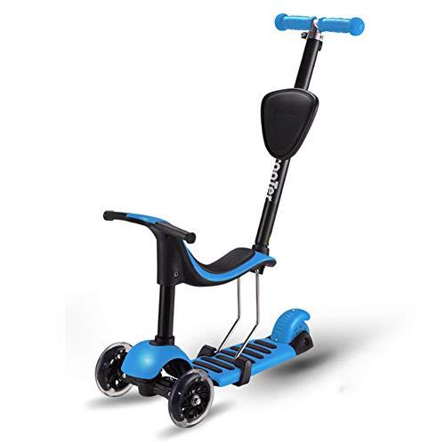 YUANLAISHINI 4 in 1 Kids Kick Scooter, 3 Wheels Walker mit abnehmbarem Sitz, 4 höhenverstellbare LED-Leuchträder (Für Außerhalb Halloween-spiele Kinder)