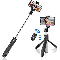 """Perche Selfie Trépied, Abafia 360°Perche Selfie Bluetooth Monopode avec Télécommande Rechangeable, Bâton Réglable Télescopique pour iPhone XS Max, Galaxy S9 Plus,Sony Xperia,Huawei et etc (4.5-6.5"""")"""