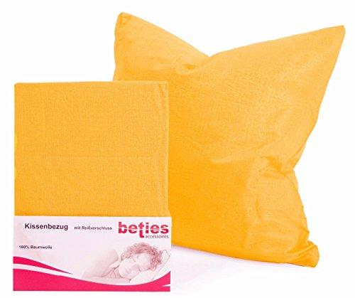 1 Stück Bettbezug (beties Basic Kissenbezug ca. 80x80 cm 100% Baumwolle in 14 fröhlichen Unifarben (Gelb) 1 Stück)