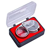 Manchester Case 30X 21mm Jeweler Loupe Eye Magnifying Glass Magnifier for Watch Making, Inspecting Jewelry, Coins, Stamps and Antiques etc--Silver