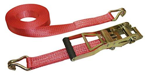 Kerbl Correa 37174, con palanca larga, 2 piezas, 10 m/50 mm ergonómica, 2,500/5,000 kg, roja