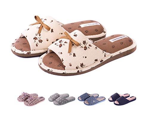 TWINS Fashion « Rimini » leichte Design Damen-Hausschuhe I Latschen I Schlappen I Pantoffeln I Slippers - 100% Baumwolle rutschfest - Diverse Farben, Braun, 38/39 EU (Baumwolle Hausschuhe Für Frauen)
