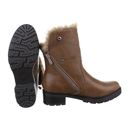 Damen Schuhe, K-33-1, STIEFELETTEN WARM GEFÜTTERTE BOOTS Braun