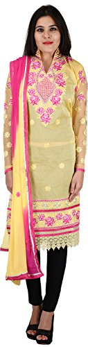 Raj Nandini Suits & Sarees Women's Chanderi Silk Semi Stitched Salwar Suit Set(RajNandini12 _ P