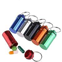 EXQULEG 6st Mini Pillendose,Tablettenbox Pille Box Aluminium Schlüsselbund Schlüsselanhänger Pille Flaschenhalter preisvergleich bei billige-tabletten.eu
