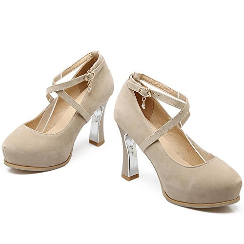 COOLCEPT Femmes Chaussures Mary Jane Escarpins Plate-Forme fete Soiree Beige