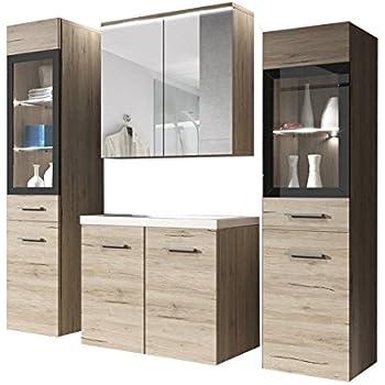 badm bel set maja mit waschbecken und siphon modernes badezimmer komplett spiegel waschtisch. Black Bedroom Furniture Sets. Home Design Ideas