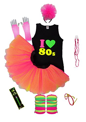 I Love 80's Neon Fancy Dress Ladies Vest Set 80s Night Tutu Skirt Fluorescent (Extra Large)