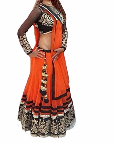 Lehenga (Om Fashion Women\'s Raw Silk Orange Free Size Lehenga Chaniya Choli)