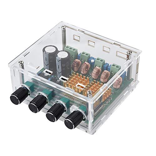 ASHATA Digital Audio Stereo Verstärker, Digital 2.1 Class D Bluetooth 4,0 HiFi Endstufe Board,Super Bass Digital Audio Power Amplifier Board Video Stereo Modul DC 24V/AC 18V mit Case