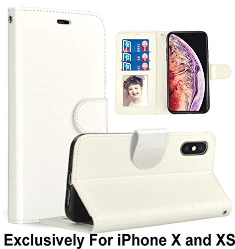 Pelotek iPhone XR Luxus Hülle, iPhone XR Braun Wallet Case - Elegantes Echtleder Slim Fit Case mit Lanyard Strap Kartenfächer Ausweishalter Innen Tasche - Attraktiver Luxus, weiß