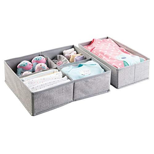 mDesign 2er-Set Stoffbox für Schrank oder Schublade - die ideale Aufbewahrungsbox Stoff für Babykleidung, Wäsche, Accessoires etc. - flexibel verwendbare Stoffkiste - grau -