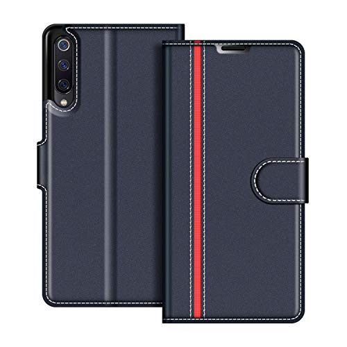 COODIO Funda Xiaomi Mi 9 Se con Tapa, Funda Movil Xiaomi Mi 9 Se, Funda Libro Xiaomi Mi 9 Se Carcasa Magnético Funda para Xiaomi Mi 9 Se, Azul Oscuro/Rojo