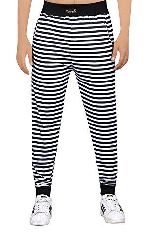 Yuvraah Men's Black & White Stripe Printed Cotton Lycra Track pant
