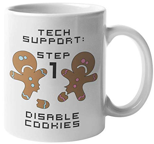 Step 1 Disable Cookies Hilarious Tech Support Troubleshooting Terminology Pun Coffee & Tea Gift Mug For Call Center Agents, Software Engineer, Computer Geeks, Techy Nerds, Technical Men & Women (11oz)