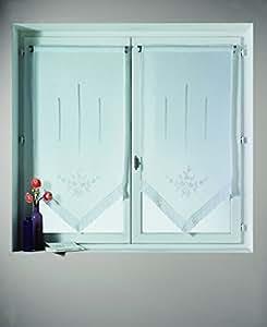 Home maison hm69813099 voilage paire en etamine avec for Rideaux cuisine 70 x 90