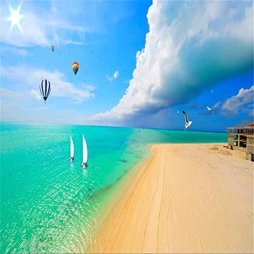 BIZI Fine Décor 3D Home Decor Naturmeerblick Strand Ocean Blue Sky und White Clouds Hintergrund Sidewall Wallpaper,300 * 210 cm