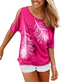 Issza Damen Sommer T-Shirt Kurzarm Feder Schulterfrei Bluse Casual Tops Lose T-Shirt, farbe Pink, Size L