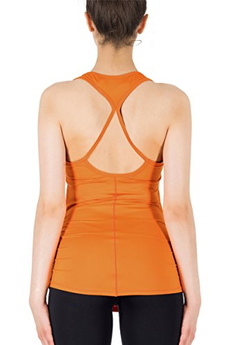 icyzone Débardeur de Sport Tops Yoga Femme - Running T-Shirt Fitness Elastic Vest Dark Cheddar
