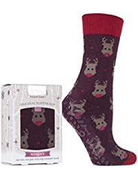 Totes Ladies 1 Pair Original Christmas Novelty Rudolph Slipper Socks with Grip