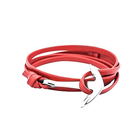 GLANZWEAR Wrap Bracelet PU Synthetic Leather with Ship Anchor in Silver