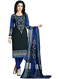 Shree balaji's women cotton unstitched dress material with dupatta black multicolour