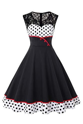 Kostüm Vintage Kleid - MisShow Damen Elegant 1950er Rockabilly Kleid Spitzenkleider Polka Dots Retro Vintage Petticoat Kleider Faltenrock, Weiß, L