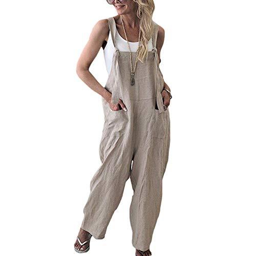 Petos de Pantalones Largo Casual para Mujer, Morbuy Verano Lino Baggy Harem Mono Suelto Moda Bolsillos Overoles Jumpsuit Tirantes Playa Fiesta Oficina Pantalón (XL,Albaricoque)