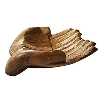 Trinket Tray Wood Hand Shape Jewellry Desk Dressing Table Organiser - inexpensive UK light store.