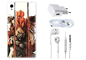 Spygen SONY XPERIA Z1 Case Combo of Premium Quality Designer Printed 3D Lightweight Slim Matte Finish Hard Case Back Cover + Charger Adapter + High Speed Data Cable + Premium Quality Handfree