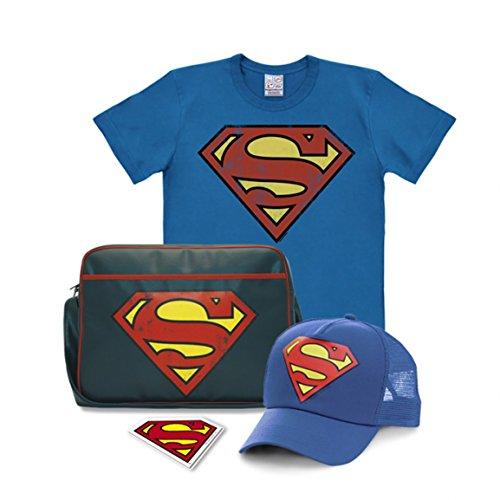 Logoshirt DC Comics - Superheld - Superman Logo - 4er Set - blau - Easyfit T-Shirt - Schultertasche - Trucker Cap - Magnet, Größe 3XL
