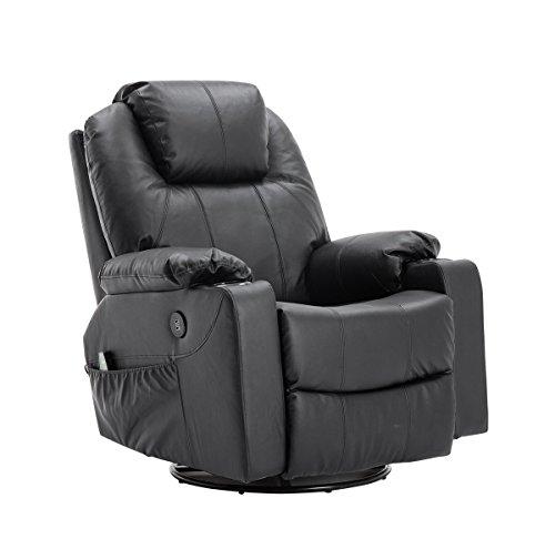 MCombo Rindleder Fernsehsessel Relaxsessel Massage Heizung USB (Schwarz)