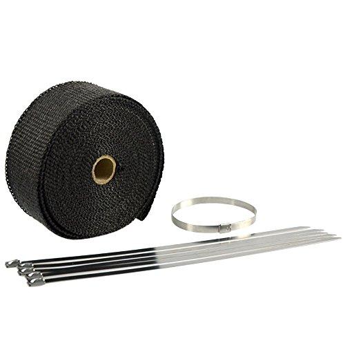 Shizak Rouleau de ruban adhésif isolant d'échappement Noir (1,5mm d'épaisseur) et attaches de câble pour auto moto/four et machines agricoles ect.