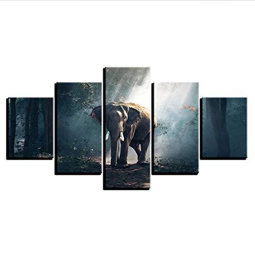 Fyyanm Lienzo Moderno Impreso HD Sala De Estar Fotos 5 Panel Elefantes...