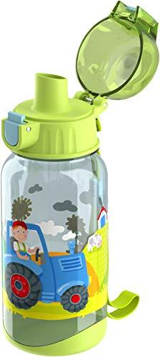 HABA 304486 - Trinkflasche Traktor, 400ml Kinder-Trinkflasche mit Traktor-Motiv in Grün für Kindergarten oder Schule, bpa freier Kunststoff, spülmaschinenfest
