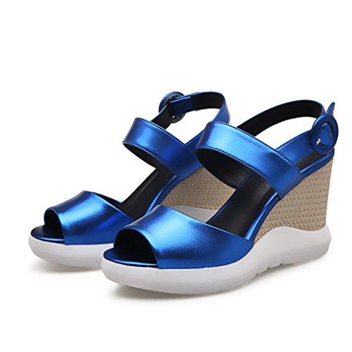 Damen Sandalen Einfach Schick Fischkopf Atmungsaktive Keilabsatz Bequem Rutschfest Abriebfeste Leicht Blau
