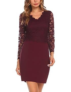 Damen Elegant Spitzenkleid Abendkleid Cocktailkleid Partykleid Bleistiftkleid Langarm V Ausschnitt Bodycon Stretch
