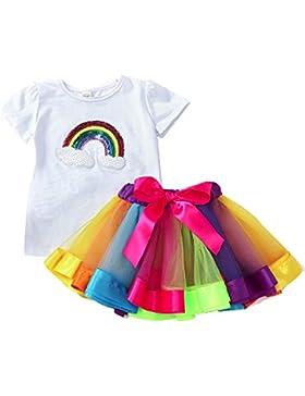 Italily-Moda bella ragazza arcobaleno paillettes Bowknot gonna abito filato Abito manica corta