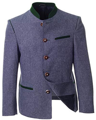 Herren Trachtensakko blau oder anthrazit-braun, Originale Trachtenjacke, taillierter Trachten-Janker zur Trachten-Lederhose (52, Blau)