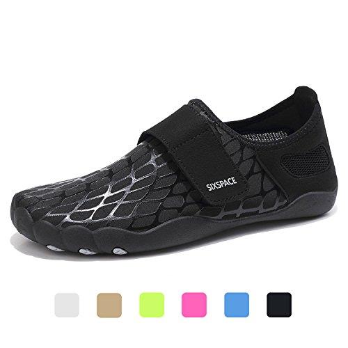 Water Shoes Mens Protective Quick Dry Sports Aqua Shoes Unisex Swim Shoes Beach Pool Lake Sand Swim Surf Yoga Water Aerobics, Black 11.5UK/46EU