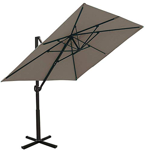 SORARA Sonnenschirm Ampelschirm | Sand | 250 x 300 m (2.5 x 3m) | Rechteckig Roma | Polyester 180 g/m² (UV 50+)| Kurbel Mechansimus | Kreuzfuß fur Parasol