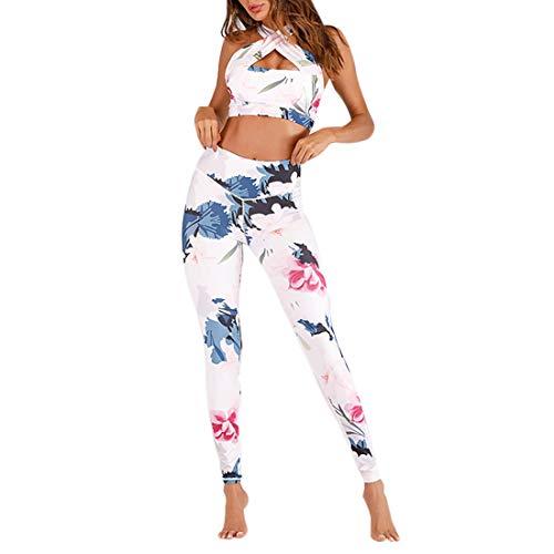 GWELL Damen Trainingsanzug BH + Leggings Set für Yoga Tanzen Fitness Gym Racerback Sportanzug Sport Bekleidungsset Blumen Weiß S