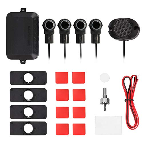 Carrfan Einparkhilfe,KFZ Summer Einparkhilfe Rückfahrhilfe 4 hinten Sensoren Auto Parken Sensor System für Hinter,Einstellbarer Sound -