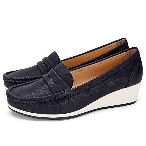 Mocasines Negros Planos para Mujer Invierno - Zapatos Comodos Plataforma Cuña, Adecuado para Oficina y Uso Diario SH003-BLACK-38