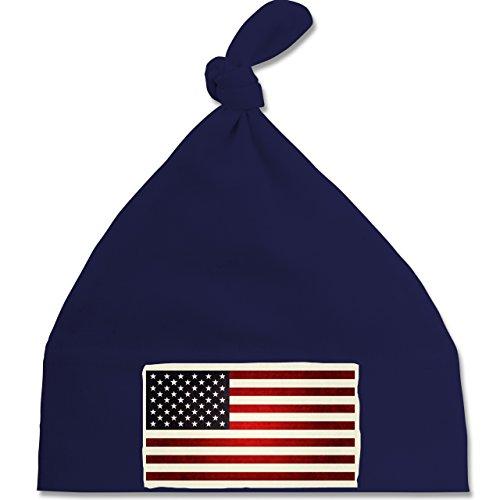 Städte & Länder Baby - Flagge USA - Unisize - Navy Blau - BZ15 - Baby Mütze mit einfachem Knoten als Geschenkidee (Navy States United Mütze Cap)