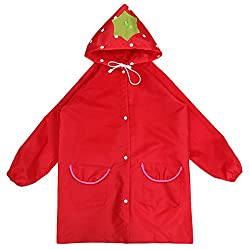 Kuhu Creations Cute Funny Cartoon Style Raincoat/Rainwear For Kids (Strawberry:Red).