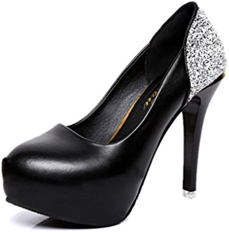 LBDX Otoño Sexy Zapatos Individuales Cabeza Redonda Tacón Delgado Boca Poco Profunda Zapatos de Trabajo de Diamantes...