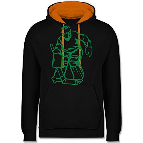 Eishockey - Eishockey - Kontrast Hoodie Schwarz/Orange